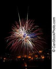 Fireworks explosion in dark sky