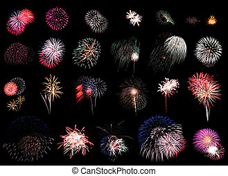 """25 individual fireworks explosions on black background. Using """"Blending Modes"""" in Photoshop you can cut & paste these right on top of each other w/o the black overlapping!"""