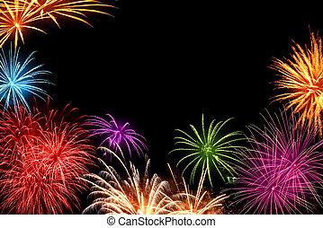 fireworks, färgrik, copyspace