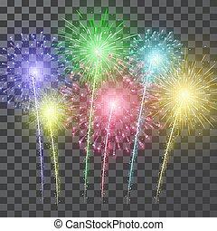 Fireworks. Festival colorful firework. Vector llustration on blue background