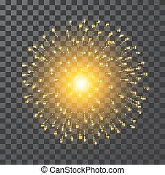 Fireworks. Festival gold firework. Vector llustration on transparent background