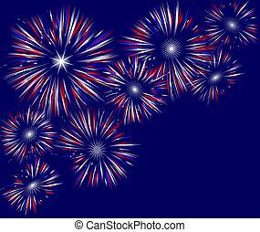 Illustration of fireworks field on solid blue background.