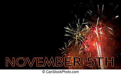 fireworks., firar, fawkes, copyspace., 5, uk, natt, november, natt, grabb, brasa