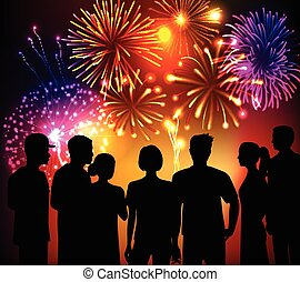 fireworks, folla, fondo