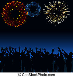 fireworks, folla