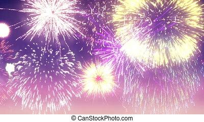 Fireworks Display High Definition Video Animation - 4K High...