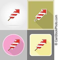 fireworks for celebration flat icons vector illustration