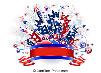 Fireworks Fourth of July behind a banner. Put your own words on it. File includes clipping path.
