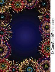 fireworks frame - Vector frame with majestic fireworks