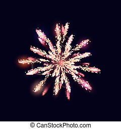 Fireworks from fire on dark background