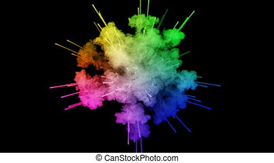 fireworks from paints isolated on black background with nice trails. explosion of colored powder or ink. juicy creative explosion of all colors of the rainbow in the air in slow motion.1