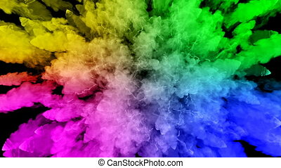 fireworks from paints isolated on black background with nice trails. explosion of colored powder or ink. juicy creative explosion of all colors of the rainbow in the air in slow motion. 36