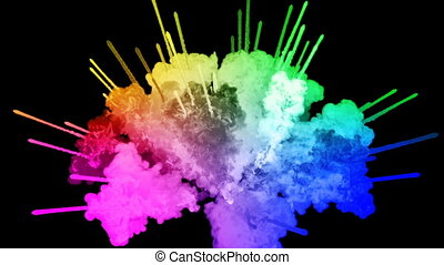 fireworks from paints isolated on black background with nice trails. explosion of colored powder or ink. juicy creative explosion of all colors of the rainbow in the air in slow motion. 33