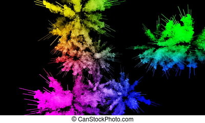 fireworks from paints isolated on black background with nice trails. explosion of colored powder or ink. juicy creative explosion of all colors of the rainbow in the air in slow motion. 89