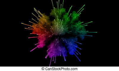 fireworks from paints isolated on black background with nice trails. explosion of colored powder or ink. juicy creative explosion of all colors of the rainbow in the air in slow motion. 19