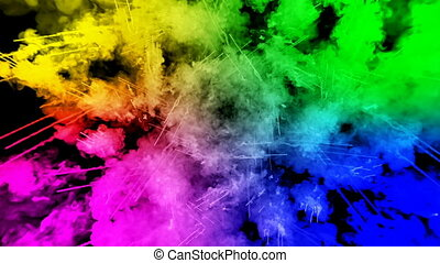 fireworks from paints isolated on black background with nice trails. explosion of colored powder or ink. juicy creative explosion of all colors of the rainbow in the air in slow motion. 18