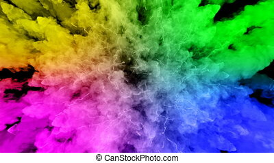 fireworks from paints isolated on black background with nice trails. explosion of colored powder or ink. juicy creative explosion of all colors of the rainbow in the air in slow motion. 44