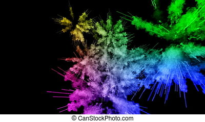fireworks from paints isolated on black background with nice trails. explosion of colored powder or ink. juicy creative explosion of all colors of the rainbow in the air in slow motion. 91
