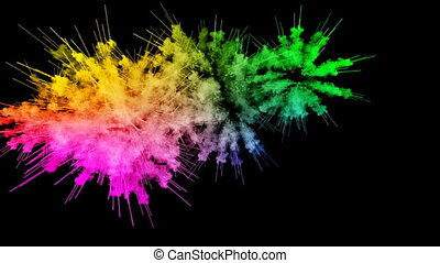 fireworks from paints isolated on black background with nice trails. explosion of colored powder or ink. juicy creative explosion of all colors of the rainbow in the air in slow motion. 94