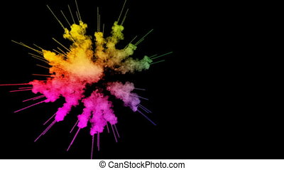 fireworks from paints isolated on black background with nice trails. explosion of colored powder or ink. juicy creative explosion of all colors of the rainbow in the air in slow motion. 7