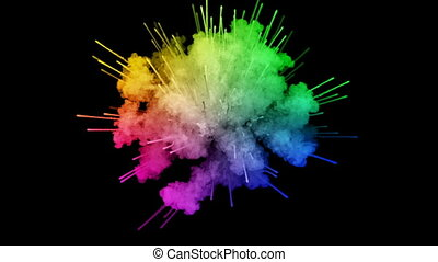 fireworks from paints isolated on black background with nice trails. explosion of colored powder or ink. juicy creative explosion of all colors of the rainbow in the air in slow motion. 8