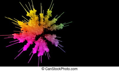 fireworks from paints isolated on black background with nice trails. explosion of colored powder or ink. juicy creative explosion of all colors of the rainbow in the air in slow motion. 9