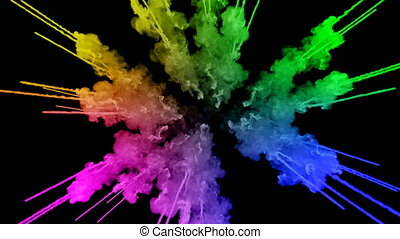 fireworks from paints isolated on black background with nice trails. explosion of colored powder or ink. juicy creative explosion of all colors of the rainbow in the air in slow motion. 13