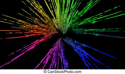 fireworks from paints isolated on black background with nice trails. explosion of colored powder or ink. juicy creative explosion of all colors of the rainbow in the air in slow motion. 6