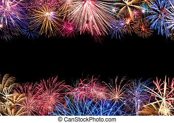 fireworks, gräns, röja, färgrik