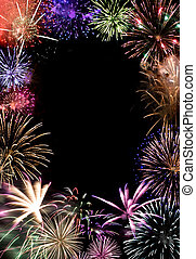 Beautiful fireworks exploding over a dark night sky with copy space in the center. Works great as a greeting card or ad layout.