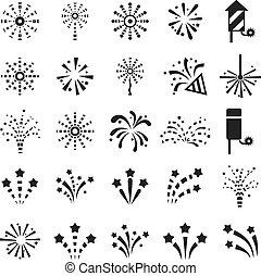 Set of Black and White Icons Fireworks. Vector illustration