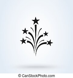 Fireworks icon vector, flat style. background isolated on white