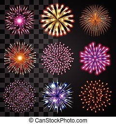 fireworks, icone, vettore, set