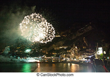 Fireworks in Amalfi, Italy - Fireworks in Amalfi, Amalfi...