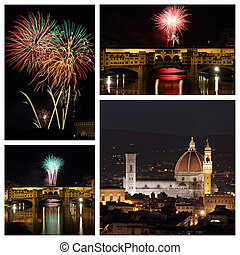 fireworks in amazing scenery of Florence city - collage