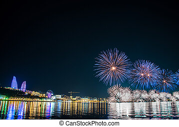 Fireworks in Baku Azerbaijan on Independence day