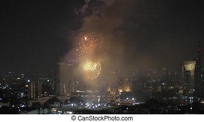 Fireworks in Bangkok, Thailand - Festive fireworks in...