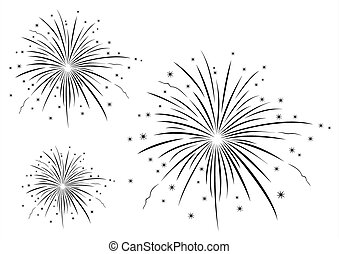 Fireworks in black