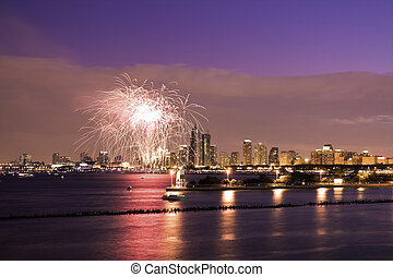 Fireworks in Chicago - summer sunset with Lake Michigan and...