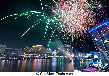Fireworks in darling harbour, Sydney, Australia