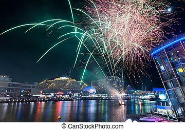 Fireworks in darling harbour, Sydney, Australia