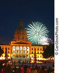 fireworks in Edmonton,Alberta - Fireworks explode over the...