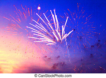 fireworks in evening sky