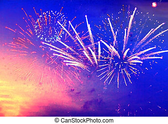 fireworks in evening sky