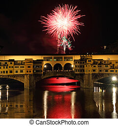 Fireworks in Florence - Fireworks over Arno river and Ponte...