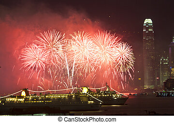 Fireworks in Hong Kong at Chinese New Year