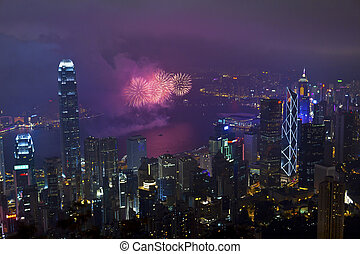 Fireworks in Hong Kong, China