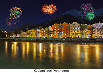 Fireworks in Innsbruck Austria - holiday background