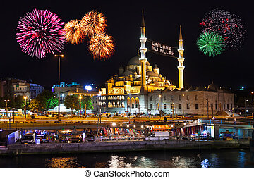 Fireworks in Istanbul Turkey - holiday background