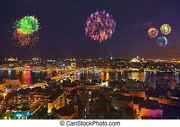 Fireworks in Istanbul Turkey